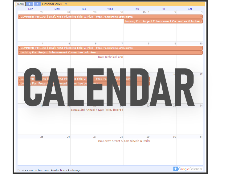 FAST Planning Calendar